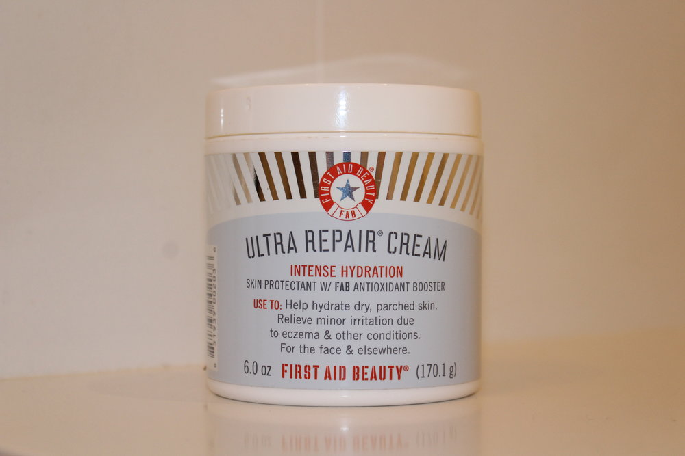 First aid beauty moisturizer - This super moisturizing face lotion is an essential piece of my winter skincare routine. It is sort of whipped or fluffy so it won't make you break out or get clogged pores. It is so hydrating and perfect for my skin type.