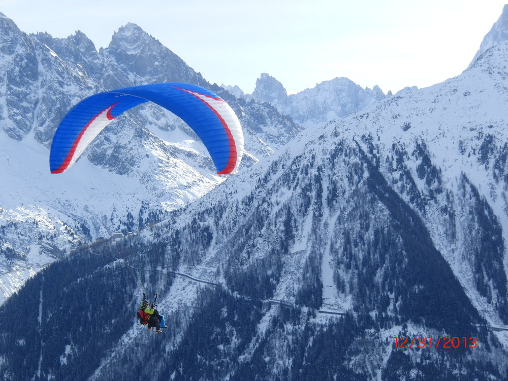 Paragliding in the French Alps on New Year's Day.