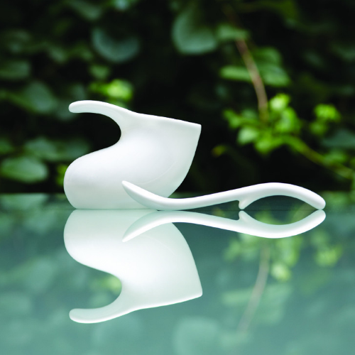 Baby bowl and spoon, designed in 1946, reissued by Neue Galerie