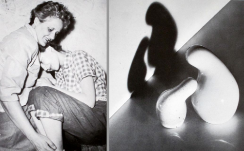 """Eva Zeisel and her daughter Jean (left), and """"Schmoo"""" mother and child salt and pepper shakers (right), showing that art truly imitates life.From Eva Zeisel: Designer for Industry , 1984"""