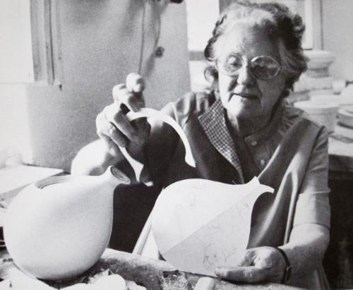 At work on a model for Kispester-Granit, c. 1980s. From Eva Zeisel: Designer for Industry , 1984.