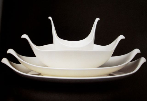 """""""Hallcraft/Century"""" Platters and bowl for Hall, c. 1957. From  Eva Zeisel: Designer for Industry , 1984"""