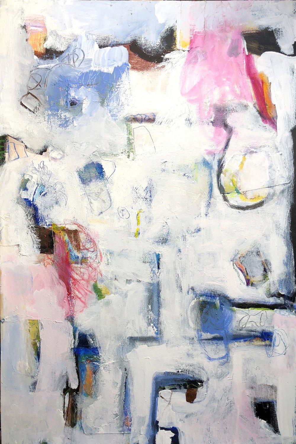 Hester Ohbi - Snow in the City - 36 x 24 - acrylic on canvas