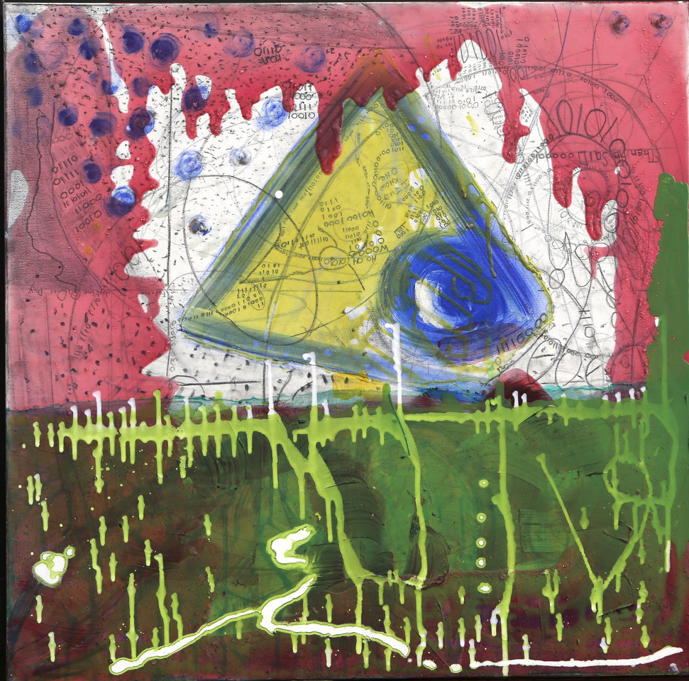 Joyce Wellman - Looking At 0's & 1's - acrylic & graphite on canvas - 30 x 30