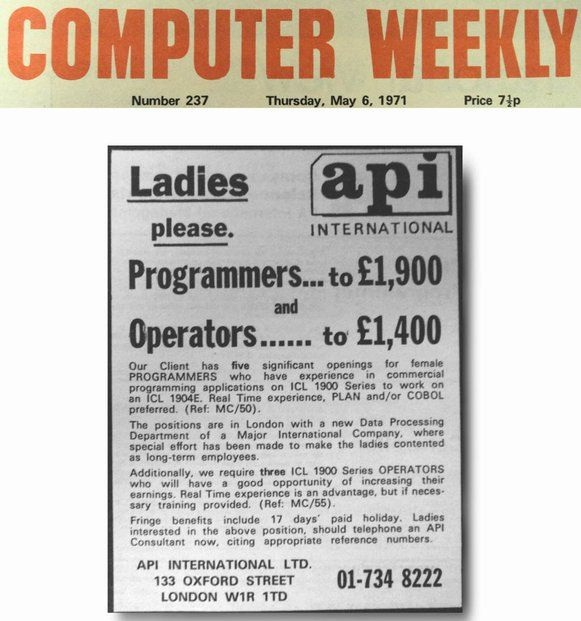 An advert from Computer Weekly from 1971