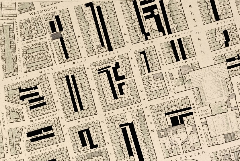 1790s:West End mews - Homes for the horses, coachmen and grooms of very wealthy Londoners