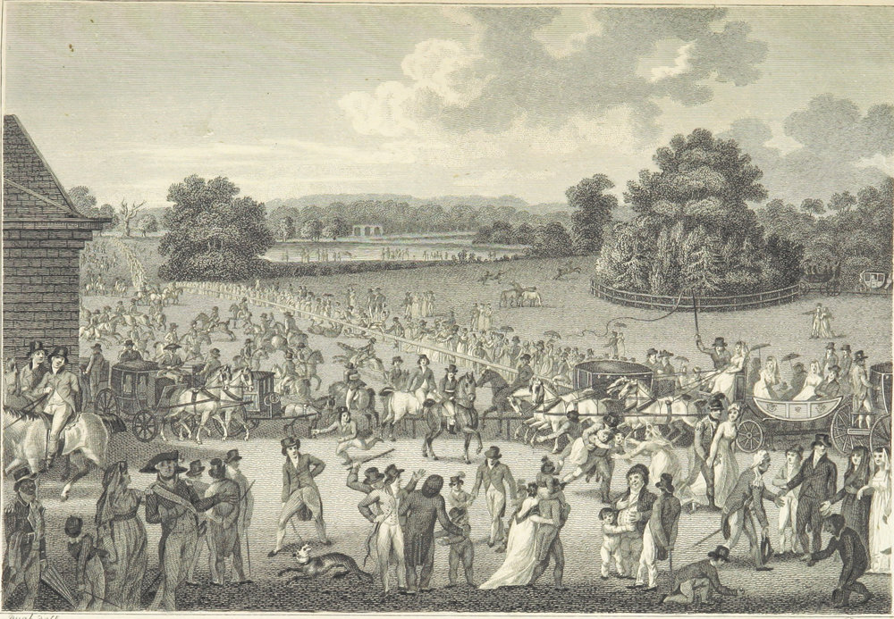 1804:Entrance to Hyde Park - And in the background, spectators watch riders show off on Rotten Row (top left to bottom right)