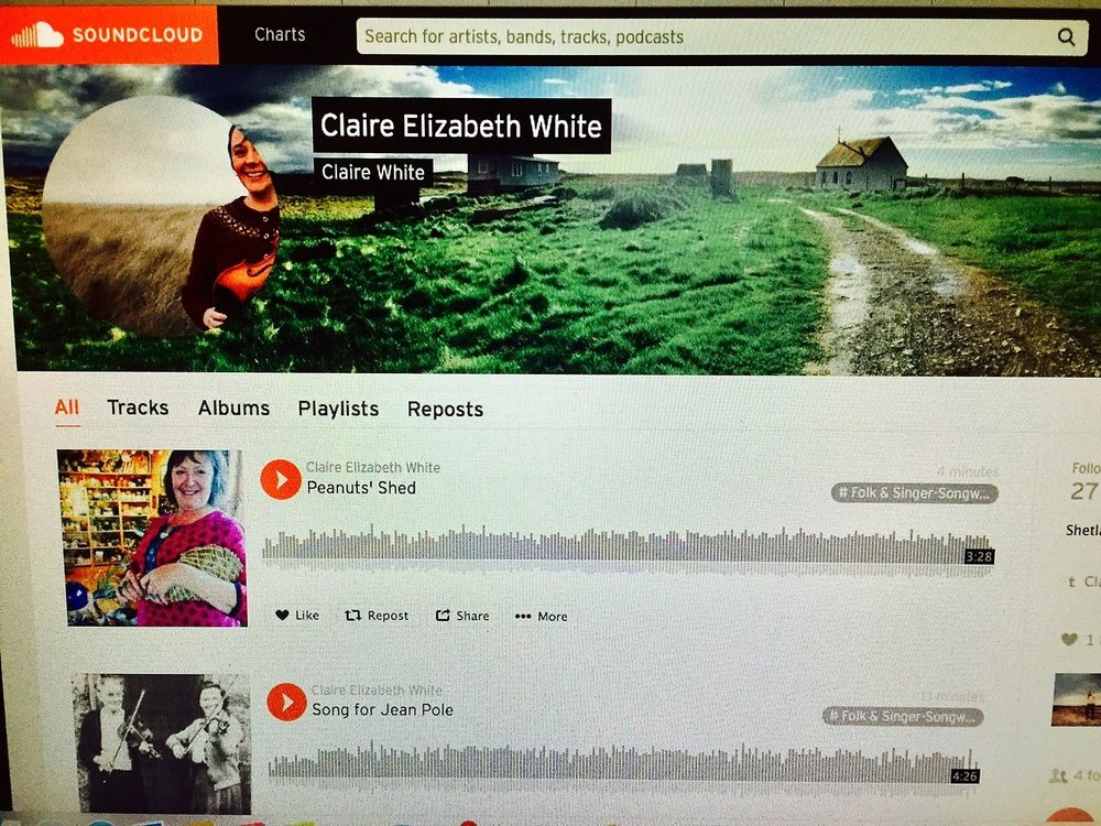 18th October 2017    SONG FOR JEAN POLE & PEANUTS' SONG ON SOUNDCLOUD   Tonight Shetland guitarist Robbie Leask and I spent two hours rehearsing songs for next year's album. Between chatting about family trees and Shetland sessions we made rough iPhone recordings of  Song for Jean Pole  and  Peanuts' Song.  Hear our first run through these pieces at  https://soundcloud.com/claireelizabethwhite