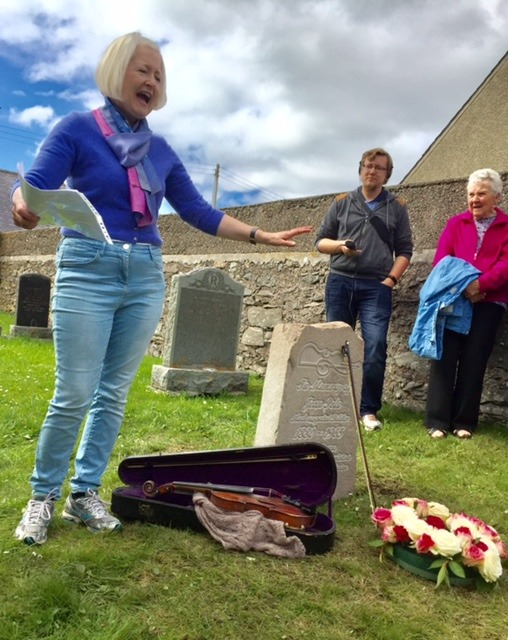 """21st September 2017     SANG FOR JEAN POLE   This is the story of a song which I began writing on the 4th of March 2017, completed on the 9th of July, and have only just found time to document! It's been a busy summer of playing in Germany, Iceland and Sardinia, running my first marathon, organising  Shetland Fiddle Frenzy  and planning next year's album. This winter I'm looking forward to focussing on song, so expect more blog posts anon!  The woman I've chosen to celebrate in my latest work is Jean Pole (1880-1965), a female Shetland fiddler at a time when this was unusual. Ethnomusicologist Peter Cooke  wrote in his 1986 book The Fiddle Tradition of the Shetland Isles  (page 122):   Presumably women in Shetland have traditionally been too busy with domestic tasks to be able to find the time to become good fiddlers. Fiddle-playing was considered the prerogative of the male; as one informant put it,'Fiddle-playing was somehow bound up with the sexual superiority of the male…and a woman's""""masculine"""" use of the fiddle and bow was almost resented as being an inappropriate and slightly embarrassing penetration into an all-male world'. In the early 1970s the only women in the Folk Society band were the accompanist and the string bass player. Earlier in the century a Miss Jean Pole was reputedly a capable fiddler, but during my early fieldwork years I met only one woman who played. All this has changed during the past ten years and it is possible that within the next decade women fiddlers will outnumber men in Shetland unless the traditional domestic division of labour persists, causing young women to give up playing once they become housewives.   I first encountered Jean when  Tammy Anderson  taught me a tune he'd learned from her around 1960, Da Boanie Polka  (pictured below from Haand me Doon da Fiddle by Tom Anderson and Pam Swing) . I was instantly captivated by the image of an elderly, seated lady dancing the steps to a tune as she played.        Last summer brough"""