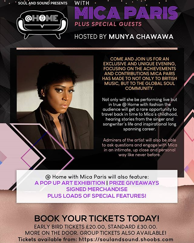 don't miss out on an opportunity to dance, conversate and celebrate with the legend @mica_paris_soul TICKETS IN BIO #soul #rnb #micaparis #legend #intimate