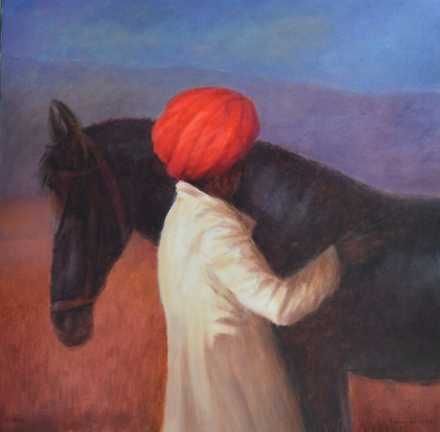 Horse and Rider with red turban, Rajasthan