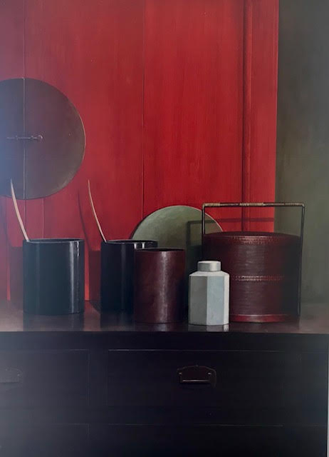 baskets and red cupboard