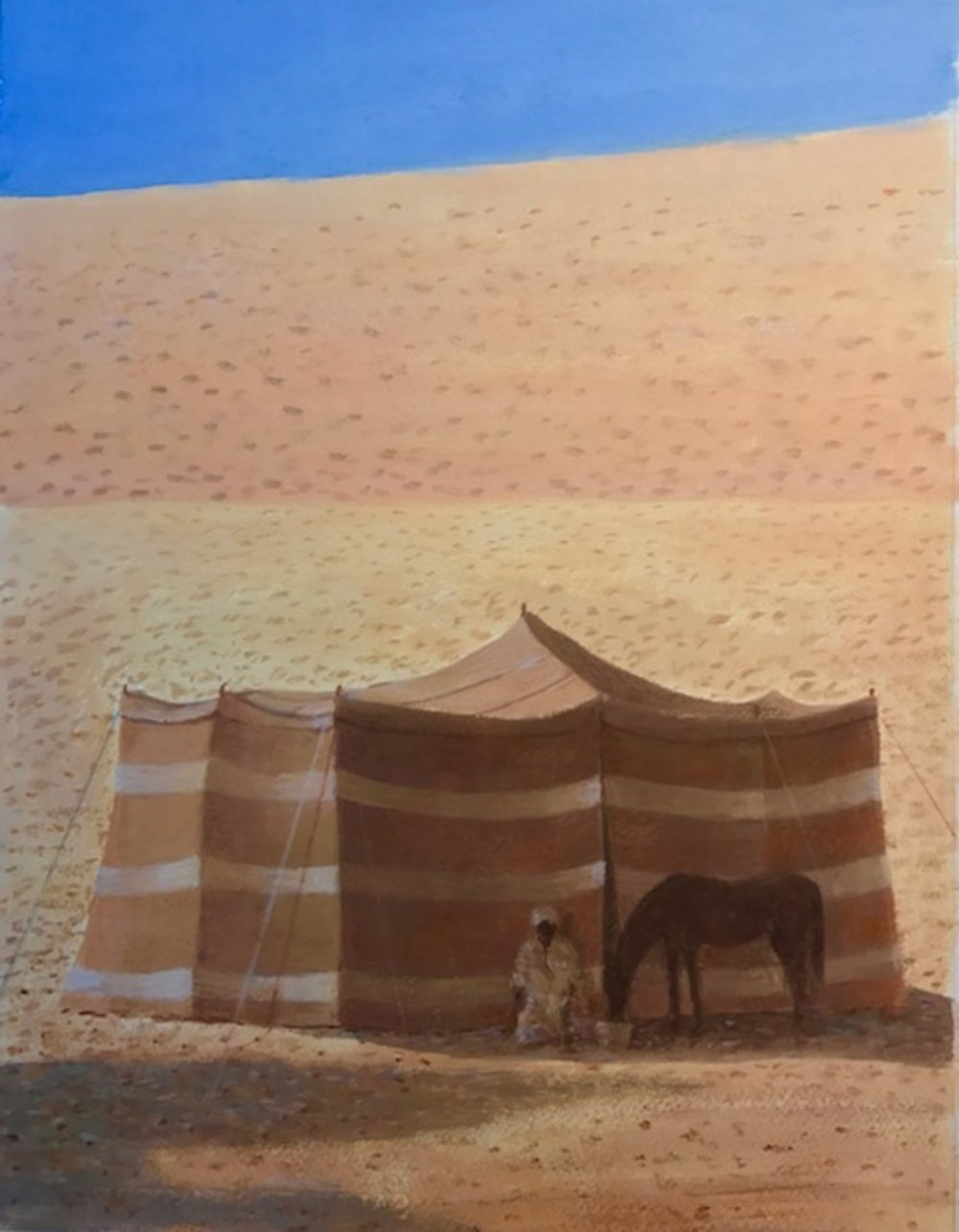 Desert tent, man and horse