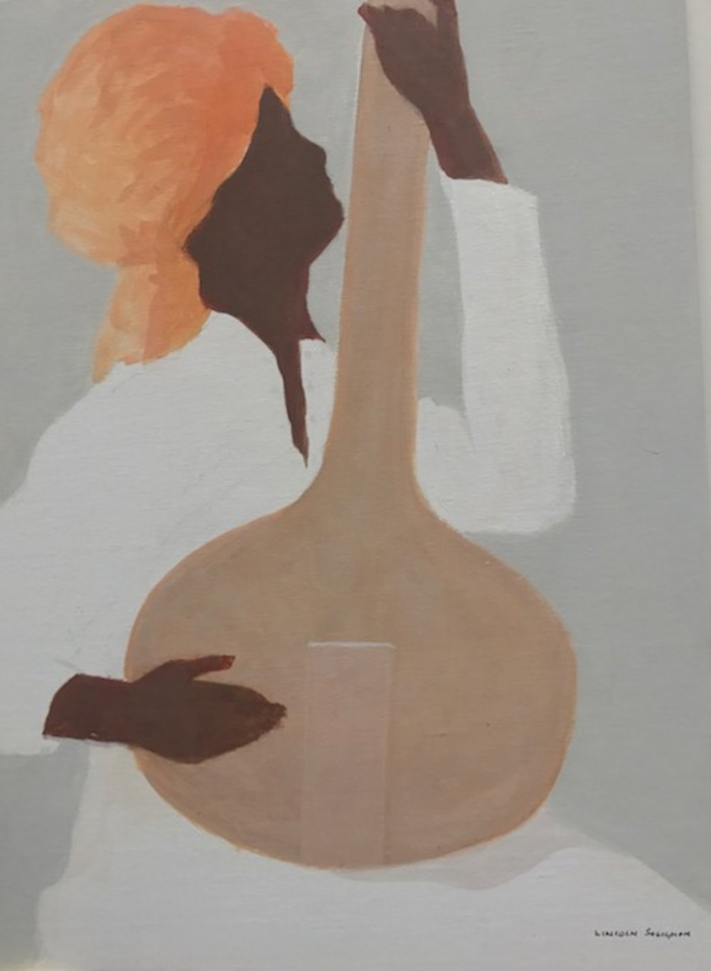 Sitar player, orange turban