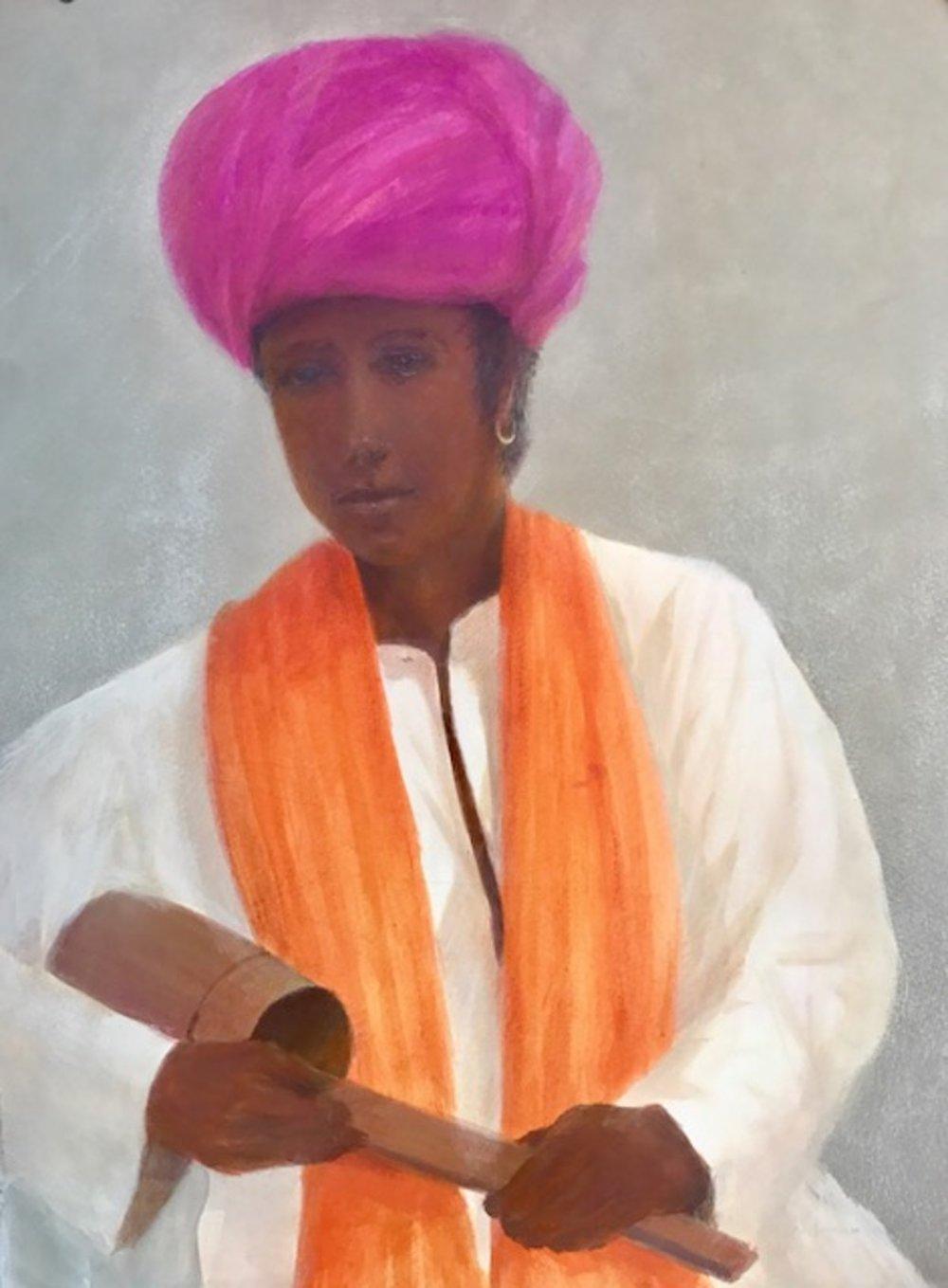 Young musician , saffron scarf