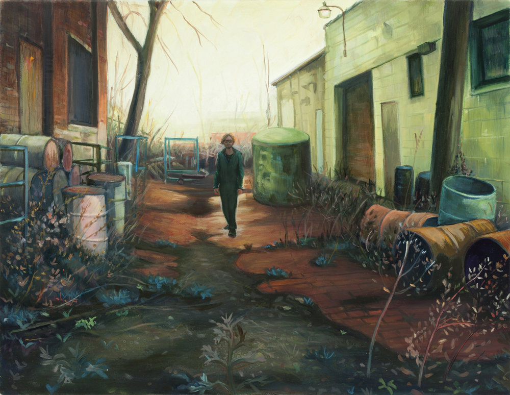 (Wanderer in the) Red Brick Alley, 2012, oil on canvas, 14 x 18 inches