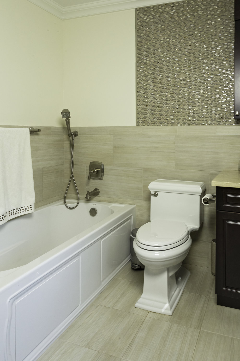 Classic style bathroom with tub next to toilet