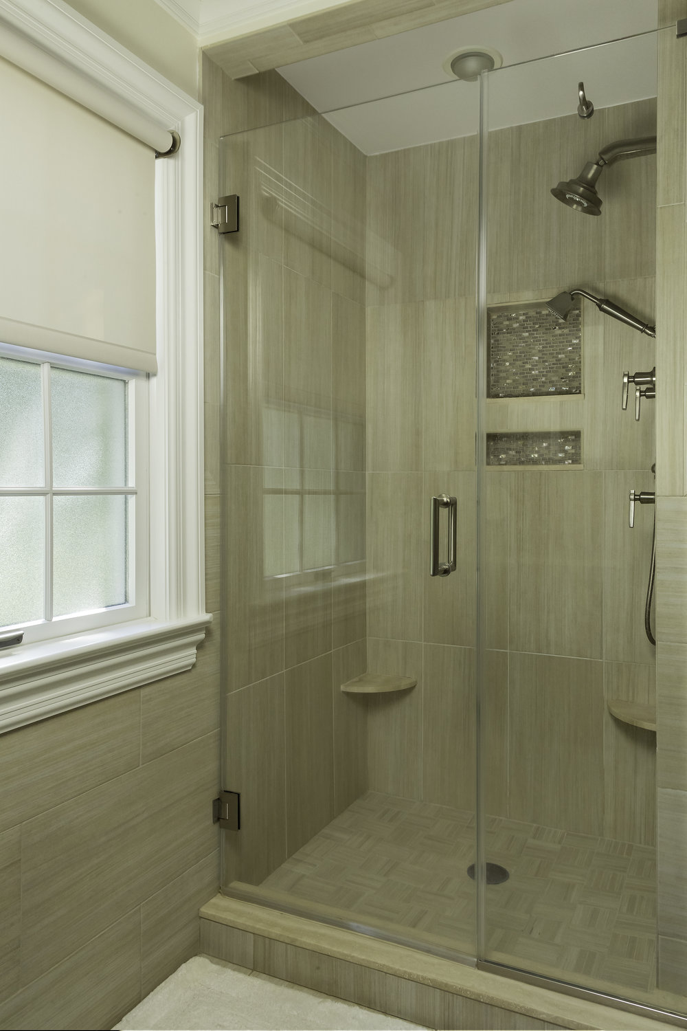 Classic style bathroom with glass walled standing shower