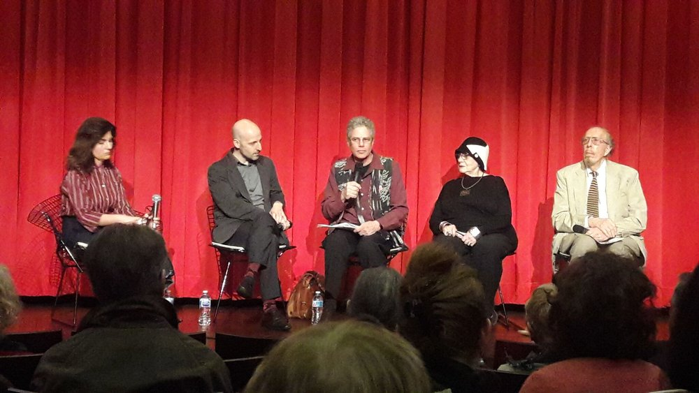 Panel discussion at the Museum of Arts and Design on March 29, 2018 in New York. Left to Right: Barbara Gifford, MAD asst. curator; Glenn Adamson, former director; Richard Kane, film director; Helen Drutt, curatorial consultant/educator; Paul Smith, former director, Museum of Contemporary Crafts.