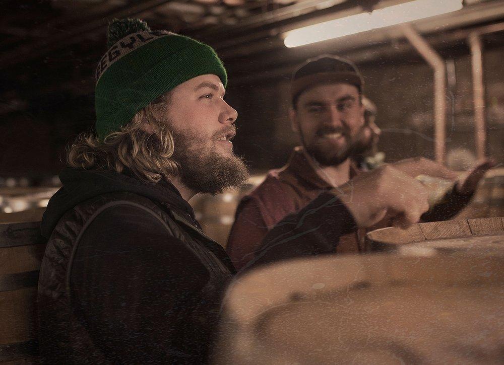 Begyle Owner Kevin Cary hunting for barrels at KOVAL Distiller last Spring.