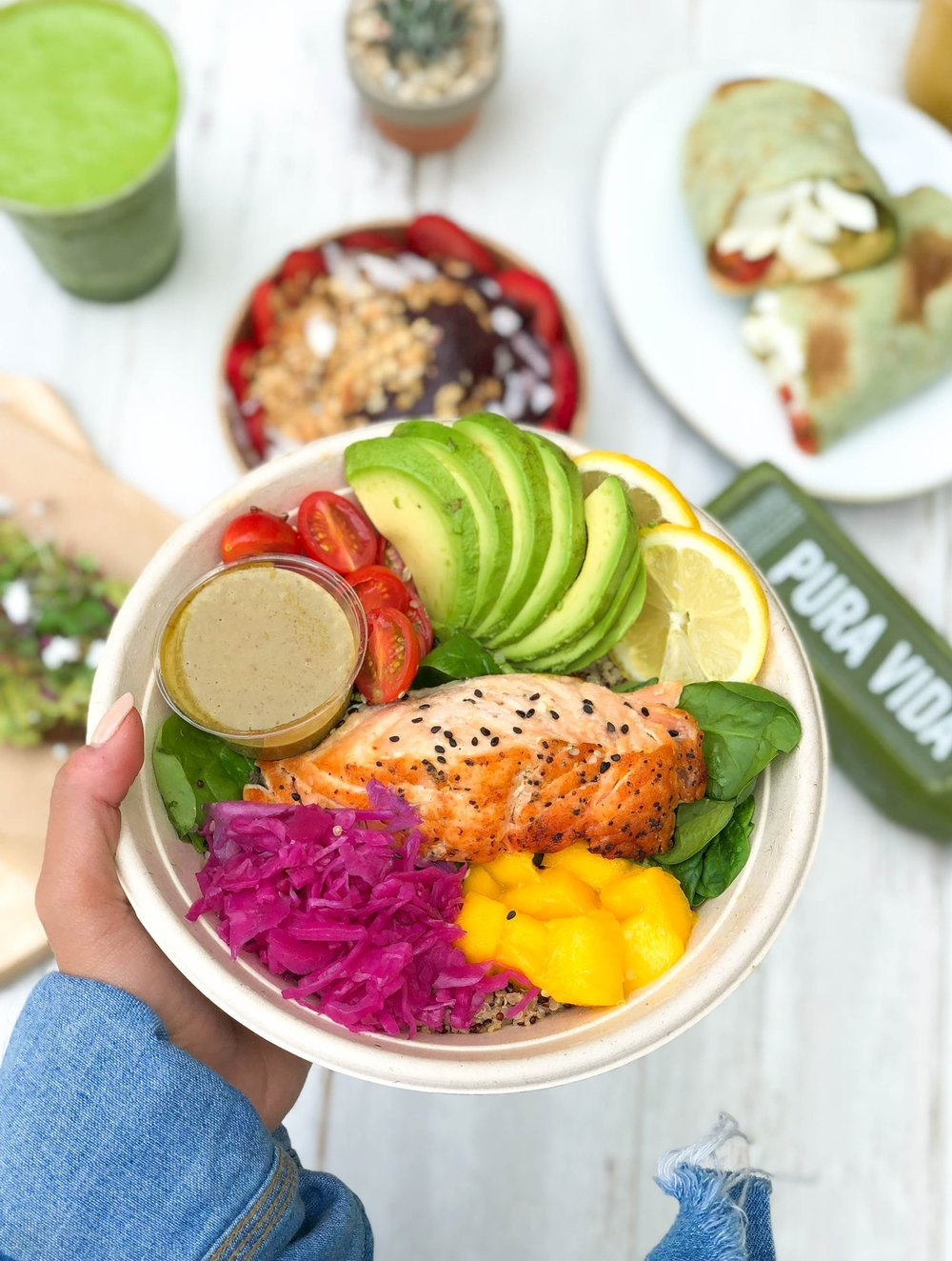 PROTEIN BOWLS - FILLING AND NUTRIENT RICH BOWLS ARE PERFECT FOR LUNCH, DINNER OR THAT POST WORK OUT FUEL. OUR BOWLS ARE MADE WITH ORGANIC WHOLESOME GRAINS, LEAN PROTEINS AND FRESH VEGGIES. sustainably