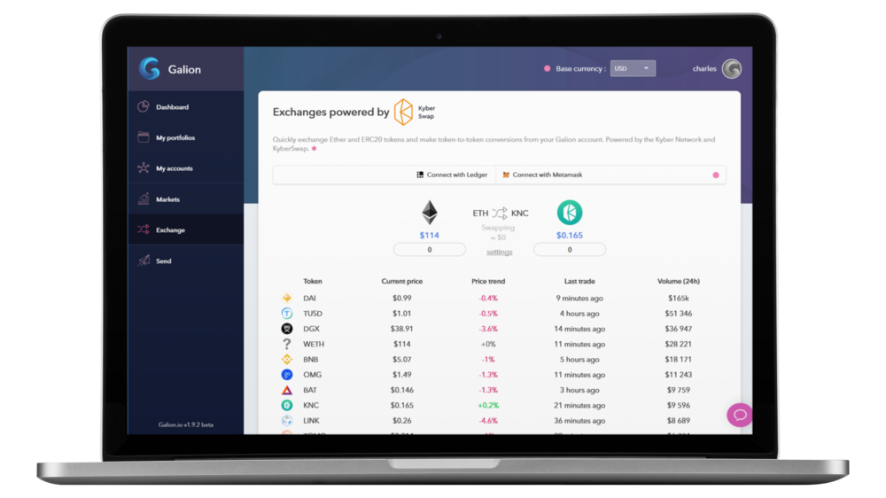 Exchange your cryptos using Kyber Swap - We partnered with Kyber Network to offer our users the best possible decentralized exchange experience. Exchanging cryptos has never been that easy!