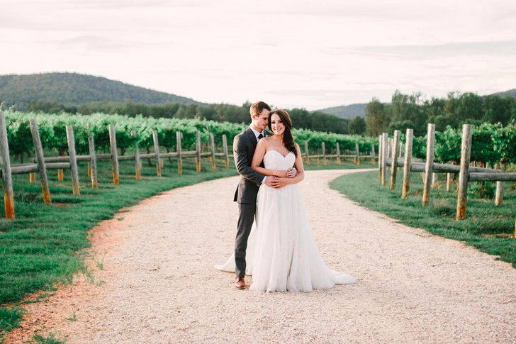 Featured on Borrowed & Blue: Meghan & Paul at Keswick Vineyards. Photo by Bethany Snyder Photography