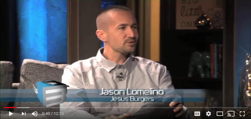 Jason Lomelino speaks about Jesus Burgers on TBN -