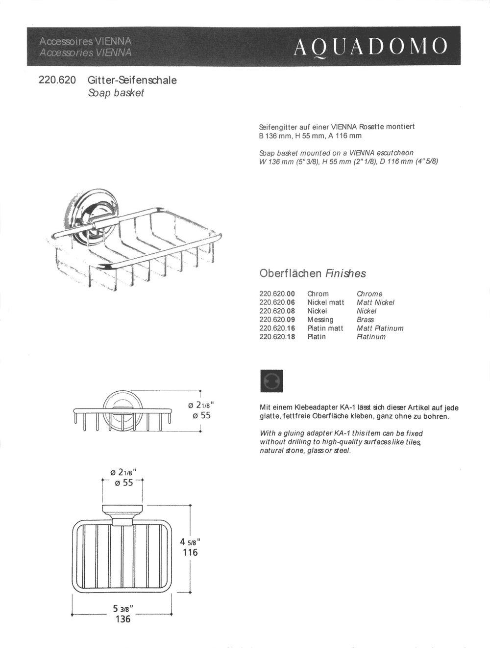 Aquadomo VIENNA Soap basket, 13,6 w x 11,6 proj. x 5,5 tall, PC, PN.jpg