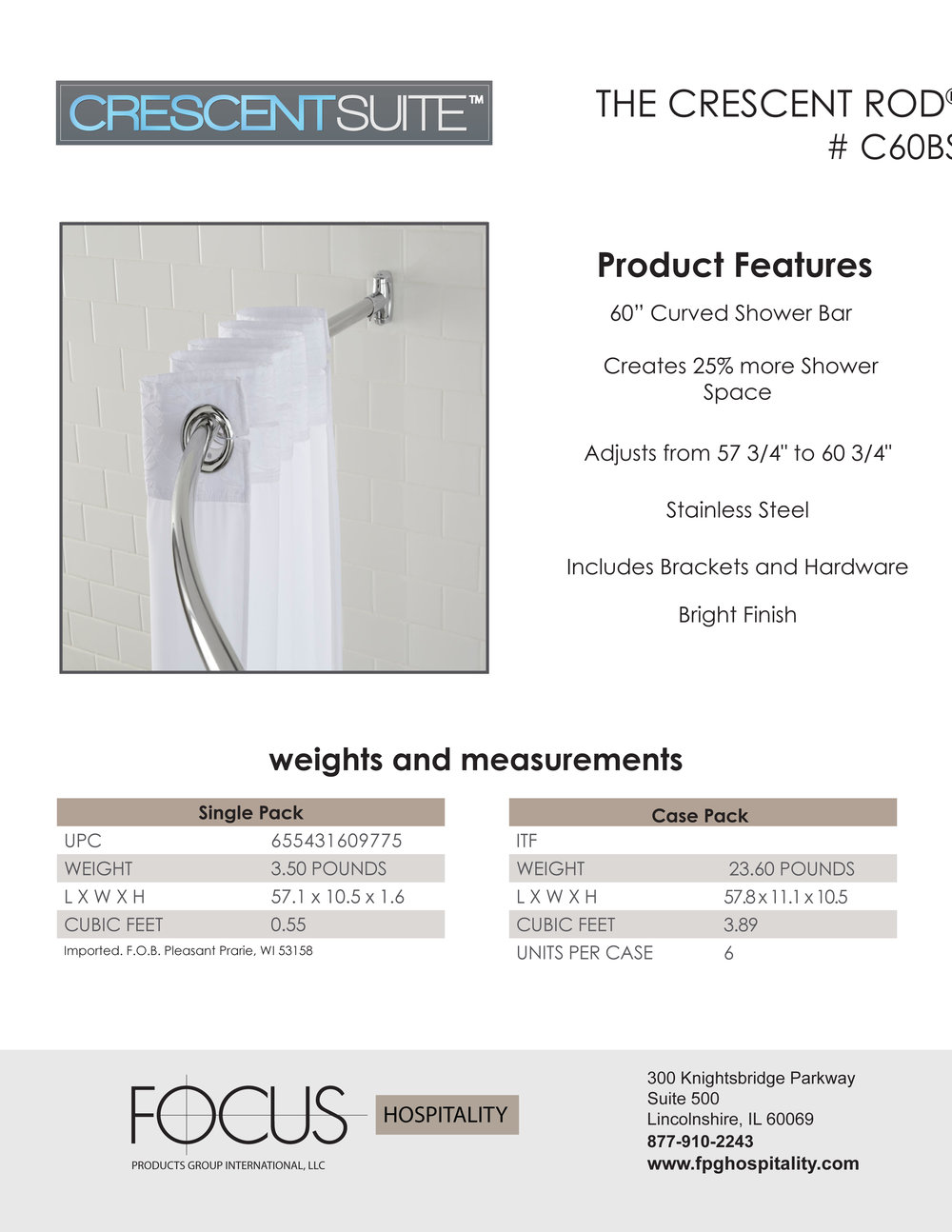 Focus Shower solution crescent shower rod 60 inch, Stainless Steel Bright Finish.jpg