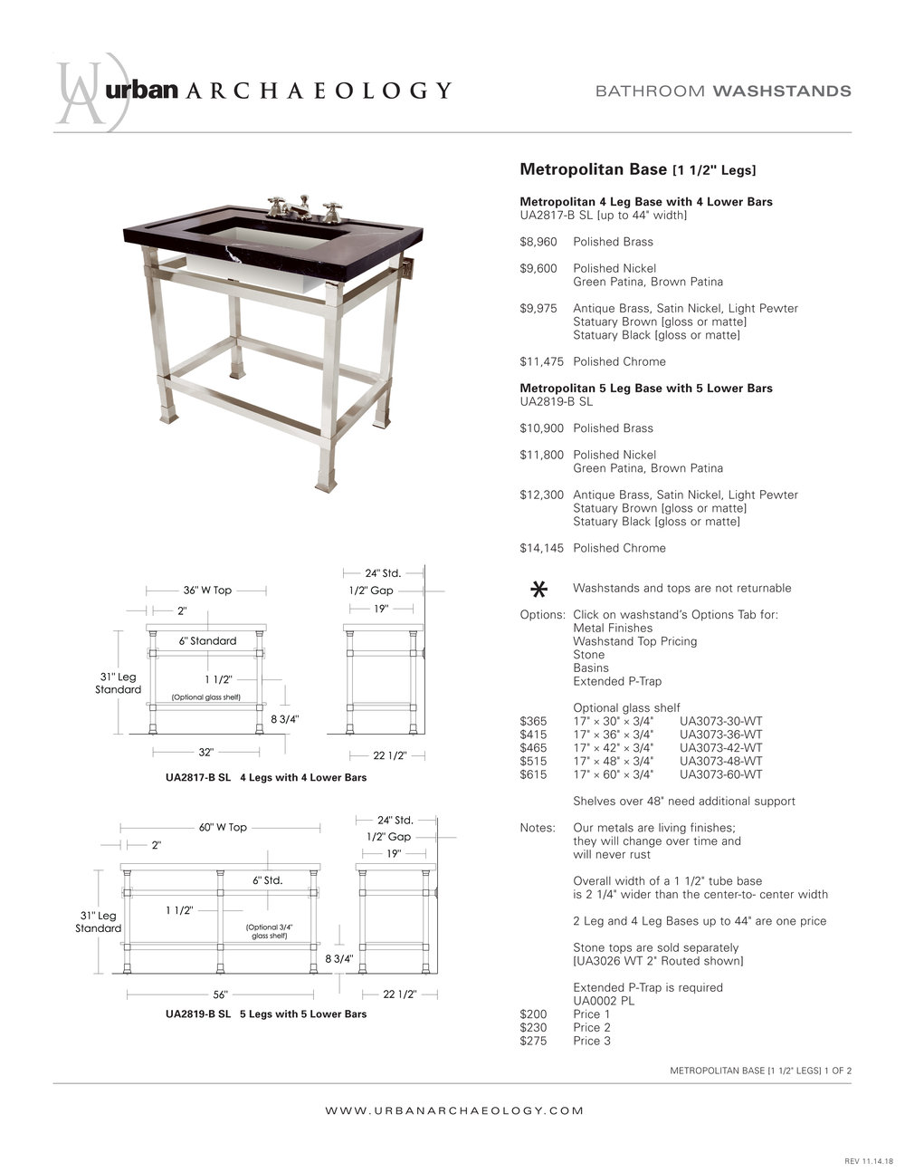 UA Metropolitan 4 Leg Washstand spec sheet-1.jpg