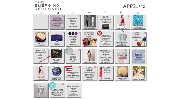 Fashion Calendar for Emerging Designers in April