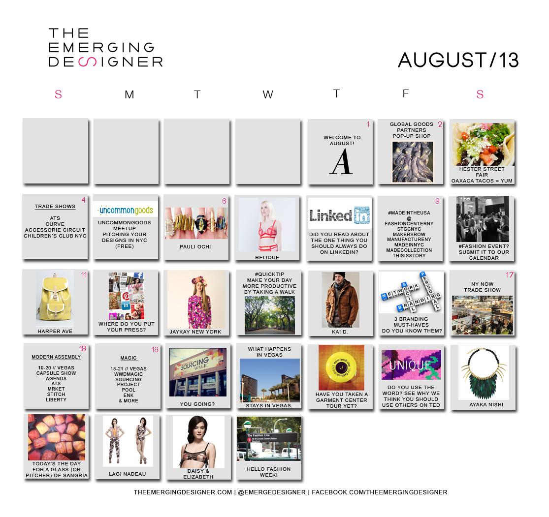Fashion Calendar Emerging Designer