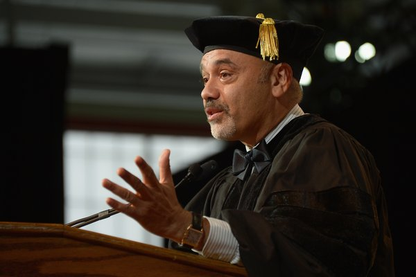 NEW YORK, NY - MAY 22:  Shoe designer Christian Louboutin receives an honororary degree during the Fashion Institute of Technology's 69th Commencement at Javits Center on May 22, 2014 in New York City.  (Photo by Michael Loccisano/Getty Images)