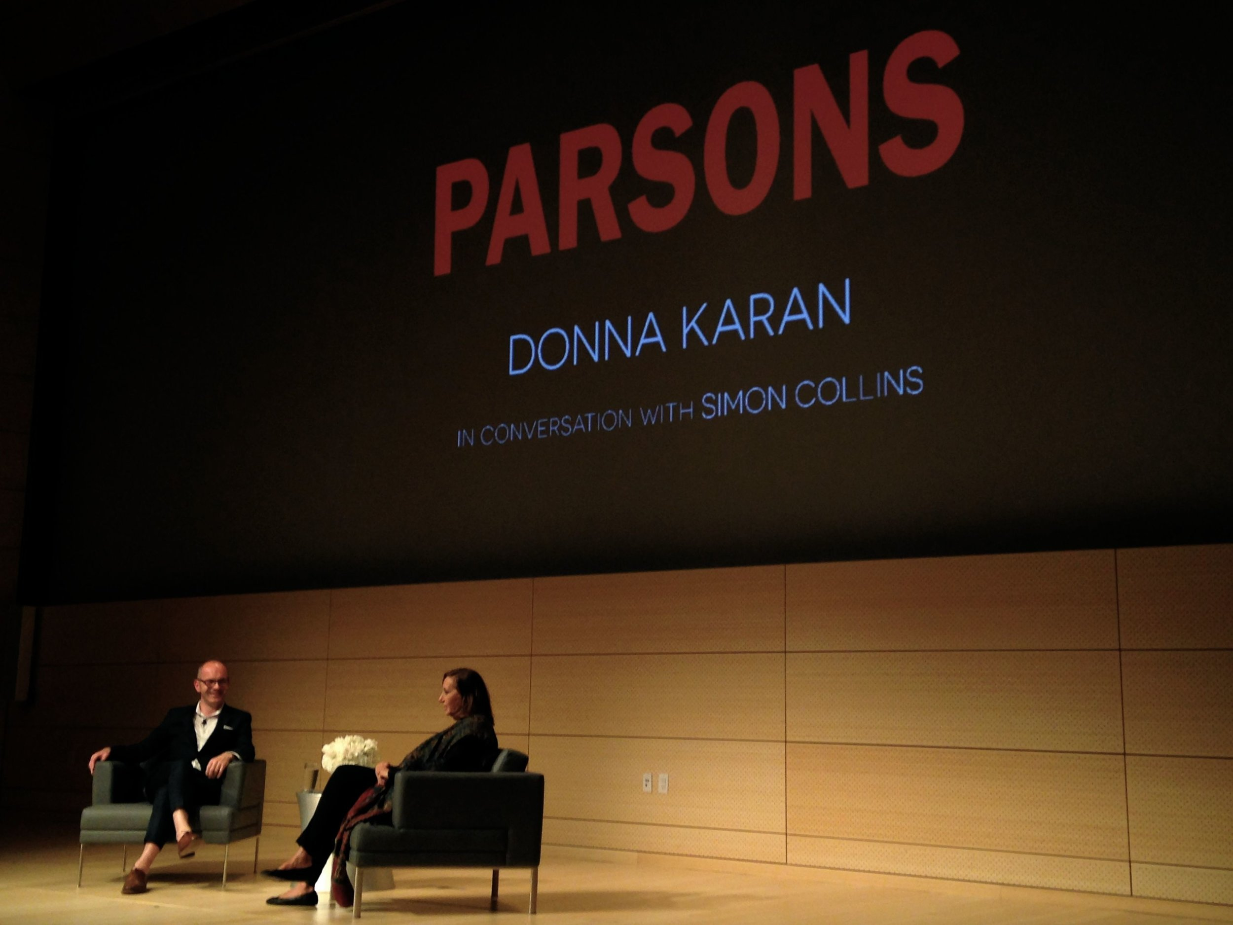Donna Karan and Simon Collins at Parsons