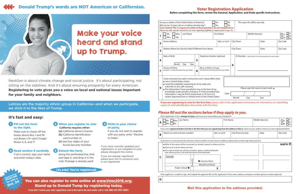 THE GOAL - Targeting the voting age population by ethnicity and in a race against time, BZD and NextGen California began working on a mail voter registration drive in September with a goal of registering 4,000 voters throughout California over three weeks before the October 24th deadline.Navigating complex logistics to track self-returned voter registrations, BZD produced four flights targeted to 208,396 people in the Latinx community in the Los Angeles and San Francisco Bay areas.