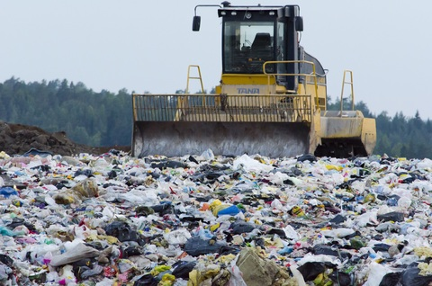 Landfill and Bulldozer