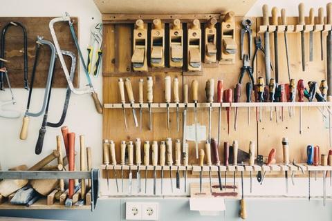 Organized Tools Hanging Up