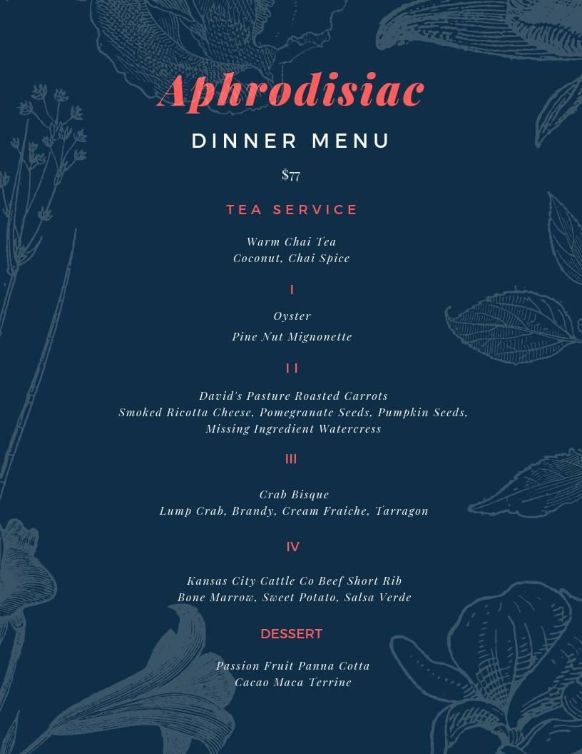 Valentine's weekend menu