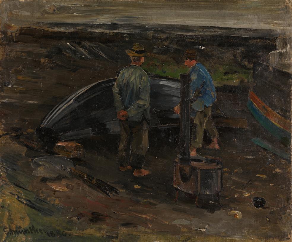 «Gutter som tjærer en båt, Nevlunghavn» 1880