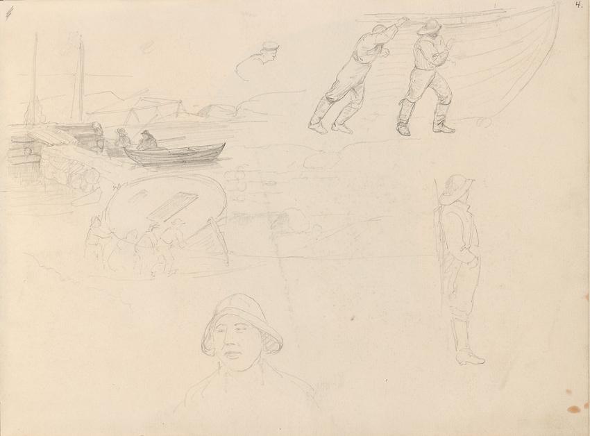 «Sjøsetting i Nevlunghavn; Sjømenn» September 1861