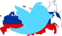 Russia Map with Twitter Bird