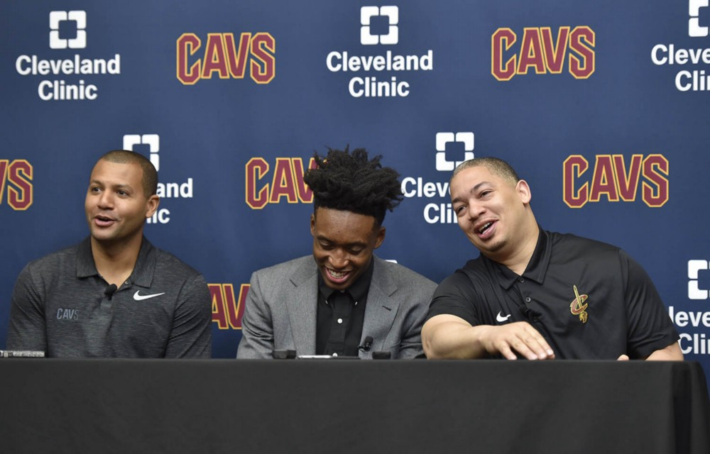 General manager Koby Altman, first round pick Collin Sexton and head coach Ty Lue [NBA.com]