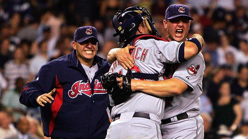 Indians closer Joe Borowski celebrates with catcher Kelly Shoppach after the Indians beat the Yankees in New York to advance to the 2007 ALCS against the Boston Red Sox. (mlb.com)