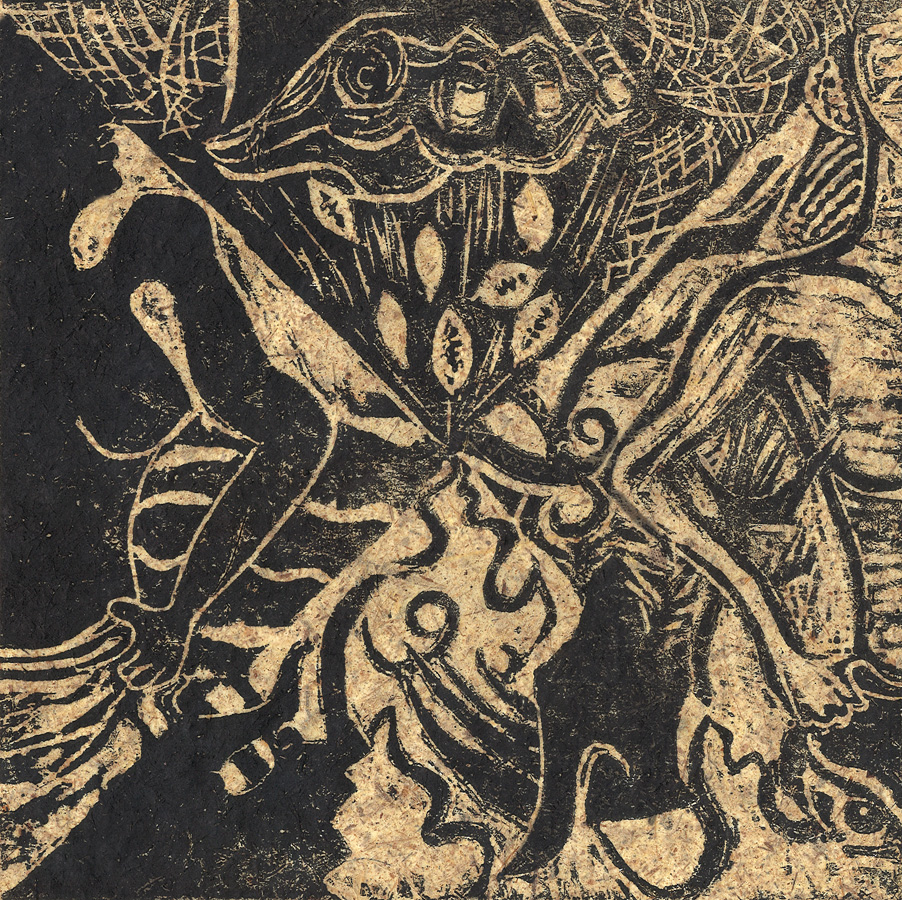Woodcut on handmade paper by Eric K. Lerner from a woodcut story about how the secrets of divination were shared….