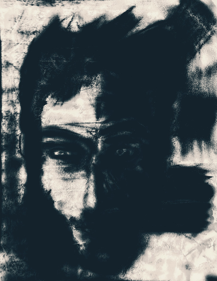 A reductive charcoal study for a Self Portrait by  Thomas van der Krogt.