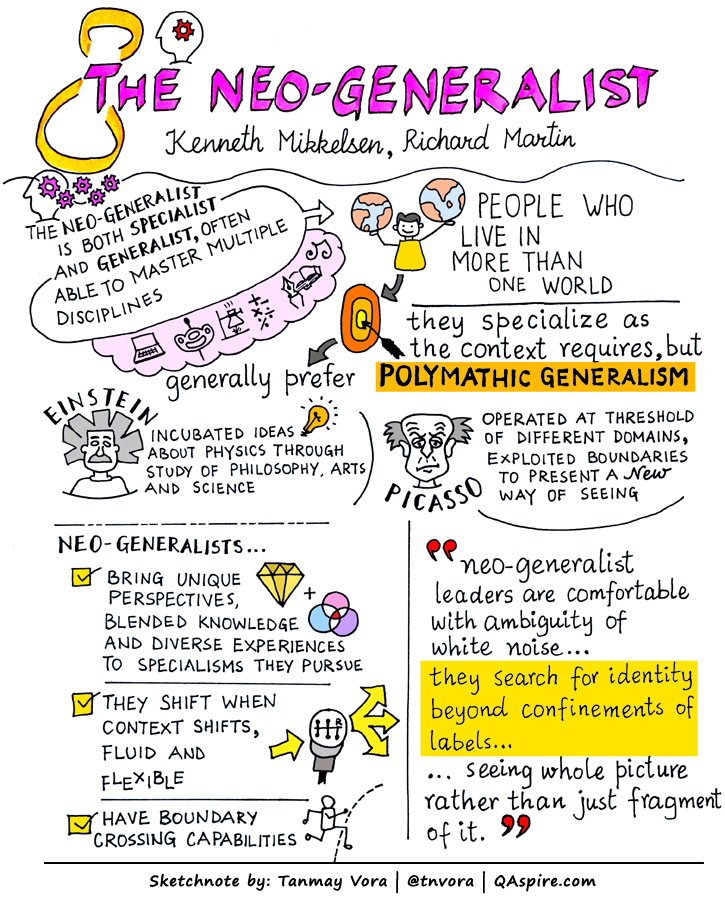 Embrace being a  specialist and a generalist , shifting as needed, depending upon context. Image from  a review of The Neogeneralist  by Tanmay Vora ( CC BY-NC-ND 4.0 ).