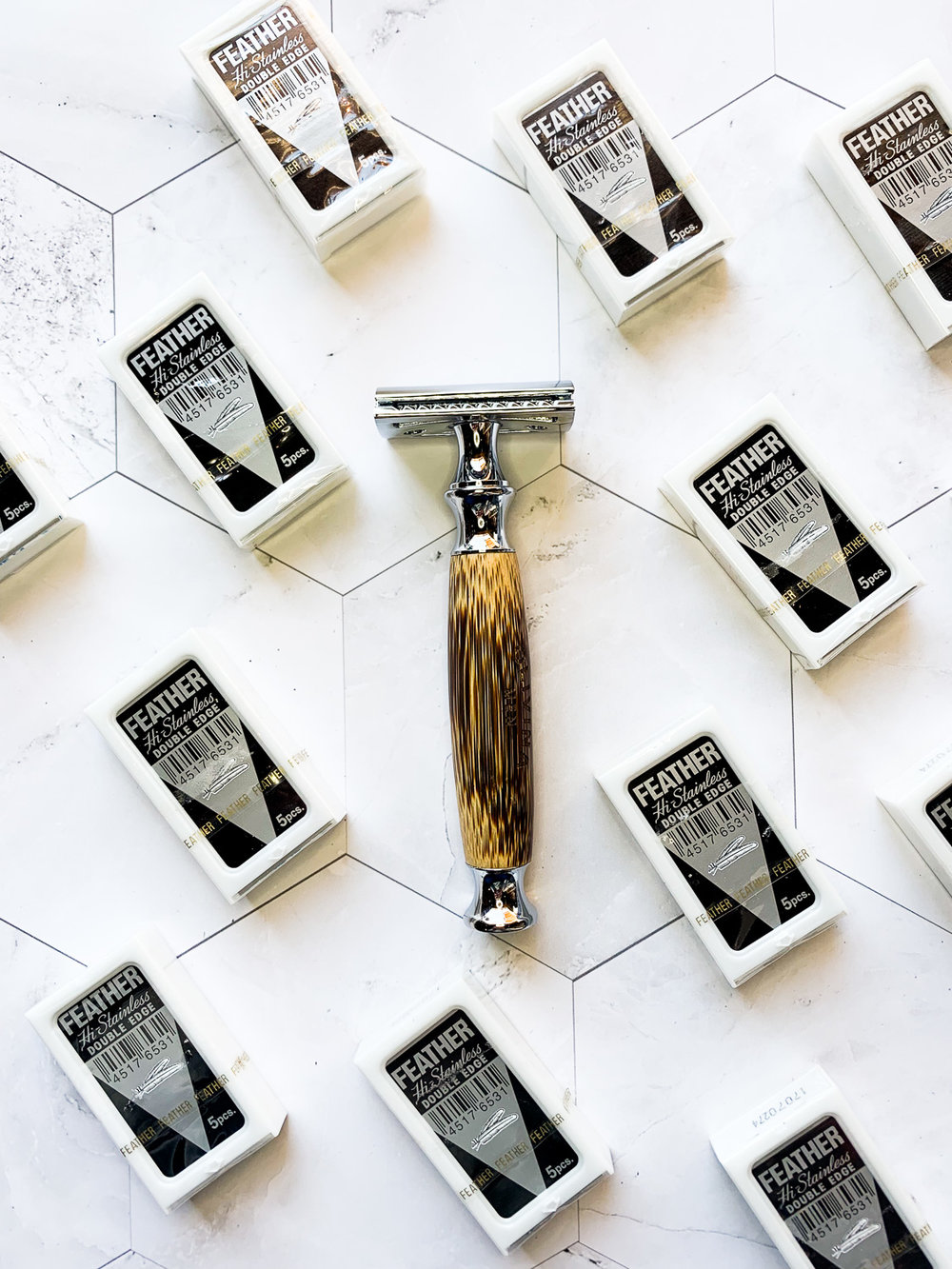 Deluxe Safety Razor - Available in chrome, 'ivory', or bamboo.