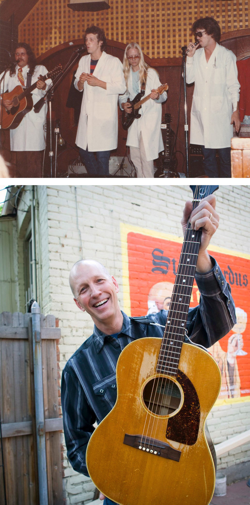 Interviewee and local musician Marty Jones pictured back in the day performing with his band CJ & the PHDs at Friar Tuck's (top) and continuing to rock today (bottom).