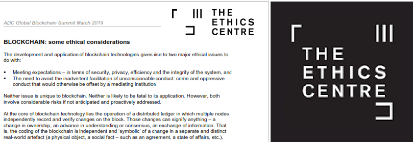 Blockchain: - Some ethical considerations from Dr Simon Longstaff - download it here